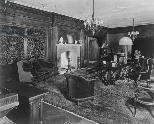 HENRY FORD MANSION. The living room of Fair Lane, Henry Ford's estate in Dearborn, Michigan, 1919.