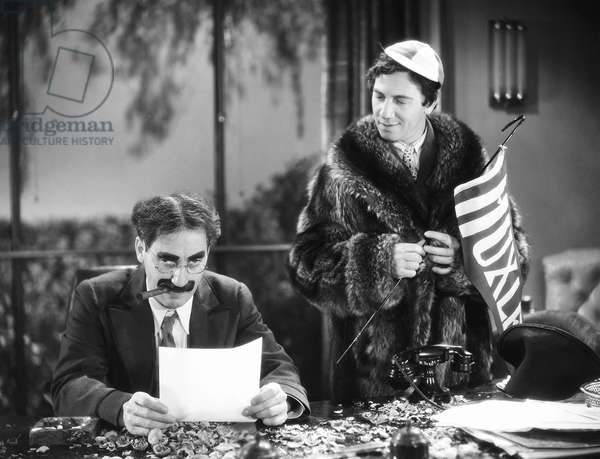 THE MARX BROTHERS, 1932 Groucho (left) and Chico Marx in 'Horse Feathers,' 1932.