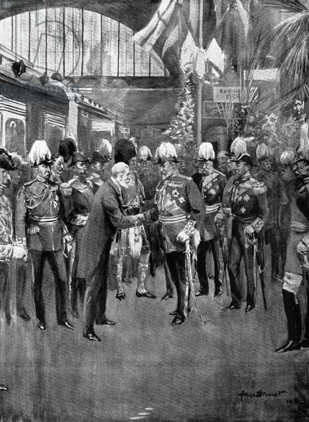LOUBET & EDWARD VII, 1903 President Emile Loubet of France being welcomed by King Edward VII of England on his visit to London, 6 July 1903: illustration from a contemporary English newspaper.