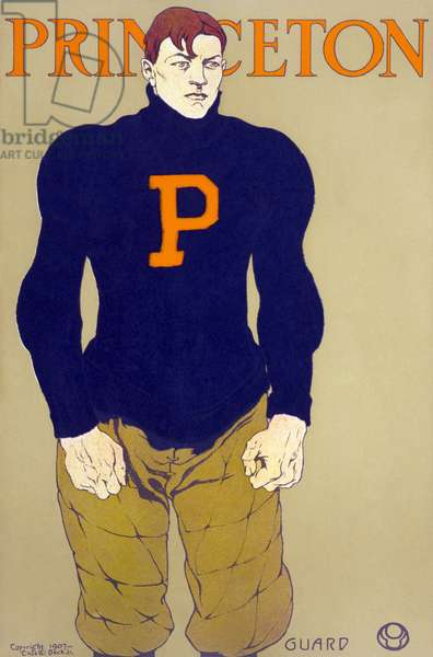 FOOTBALL: PRINCETON, c.1907 Poster for the Princeton University football team. Chromolithograph by Edward Penfield, c.1907.
