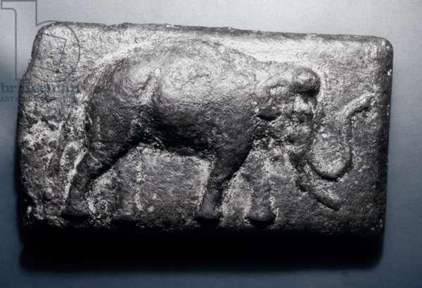 ROMAN COIN: ELEPHANT Aes Signatum: Bronze ingot cast at Rome, 275-242 BC. Obverse: Elephant.