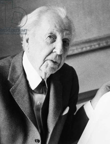 FRANK LLOYD WRIGHT (1869-1959). American architect. Photographed in 1957.