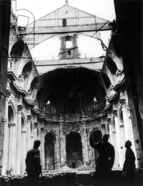 WORLD WAR II: DRESDEN Inside view of the Hof Kirche in Dresden, partially destroyed by Allied bombing raids during World War II. Photograph, 1946.