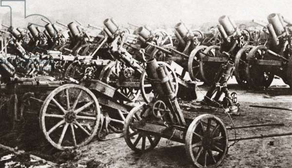 WORLD WAR I: SURRENDER. Some of the 5,000 German guns surrendered under the terms of the Armistice. Photograph, c.1918.