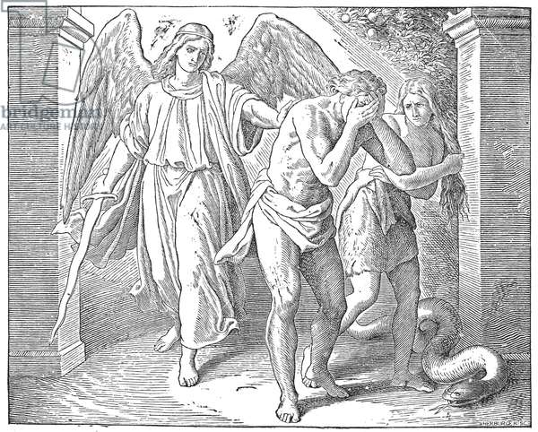 ADAM AND EVE Adam and Eve cast out of the Garden of Eden. Wood engraving from a 19th century Bible.
