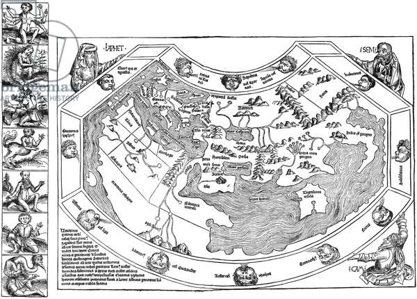 PTOLEMAIC WORLD MAP, 1493 Ptolemaic world map, including depictions of Noah's sons, Japhet, Shem and Ham, progenitors of the human race in Judeo-Christian tradition. Woodcut from the 'Nuremberg Chronicle,' 1493.