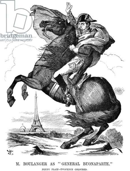 GEORGES BOULANGER (1837-1891). Georges Ernest Jean Marie Boulanger. French general. An English cartoon comment on Boulanger's return as a deputy for the Seine division of Paris by a huge electoral majority in 1889, referring to Jacques Louis David's portrait of Napoleon I crossing the Alps.