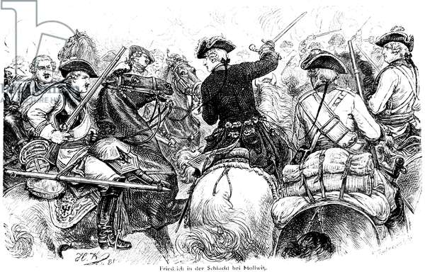 FREDERICK II (1712-1786) King of Prussia, 1740-1786. Frederick the Great at the Battle of Mollwitz, 10 April 1741. Wood engraving, German, 19th century.