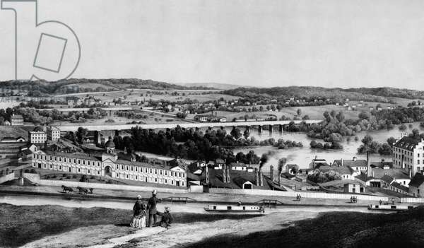 RICHMOND, VIRGINIA, 1857 View from Gambles Hill of the James River, the Kanawha Canal, and the industrial area. The building on the extreme right is probably the Tredegar Iron Works. Lithograph, 1857.