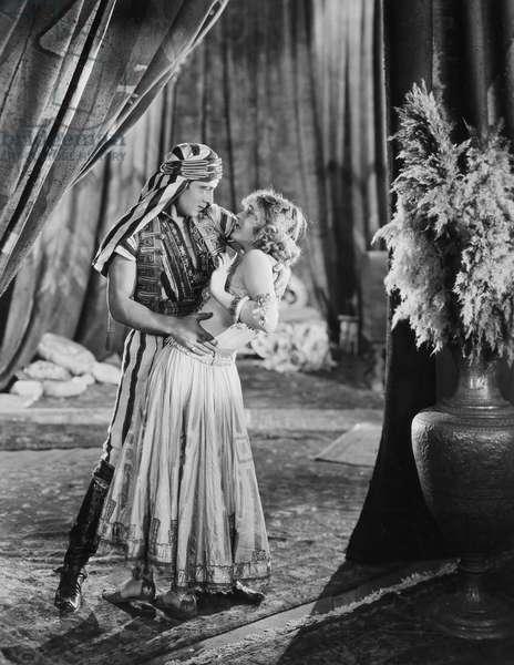 RUDOLPH VALENTINO (1895-1926). American (Italian-born) film actor. Valentino and Vilma Banky in 'Son of the Sheik,' 1926.