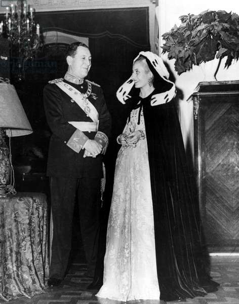 JUAN AND EVITA PERON, 1952. Juan Peron (1895-1974), Argentine politician, with his second wife Maria Eva Duarte (1919-1952), called Evita. Photographed 1950.