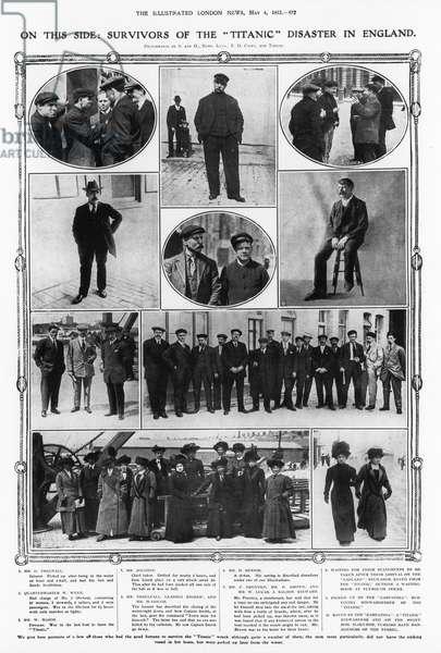 TITANIC: SURVIVORS, 1912 Survivors of the sinking of the 'RMS Titanic,' 1912.