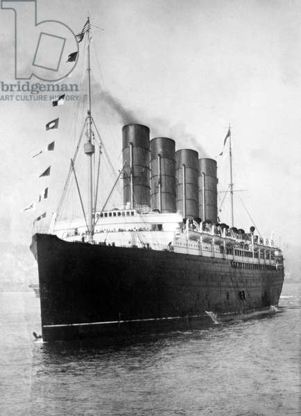 LUSITANIA, 1908-1914 The Cunard steamship 'Lusitania', c.1908-1914.