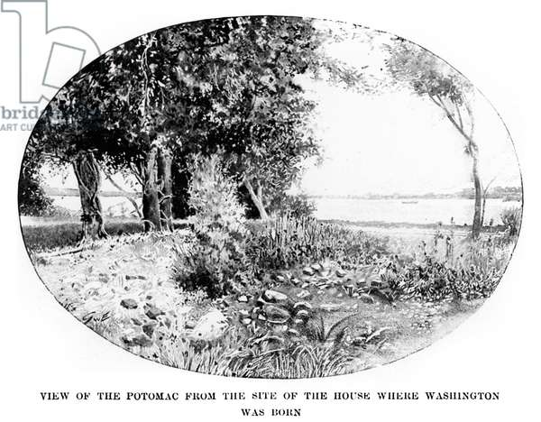 WASHINGTON: BIRTHPLACE View of the Potomac River from Wakefield in Westmoreland County, Virginia, where George Washington was born. Line engraving from 'George Washington' by Woodrow Wilson, 1897.