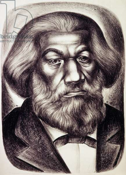 FREDERICK DOUGLASS ( c.1817-1895). American abolitionist and writer. Lithograph, 1951, by Charles White.