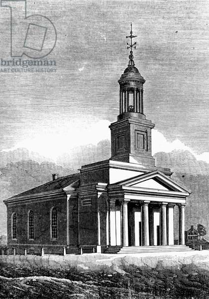 QUINCY: ADAMS TEMPLE First Parish Church of Quincy, Massachusetts, also known as Adams Temple, burial site of Presidents John Adams and John Quincy Adams. Wood engraving, American, 19th century.