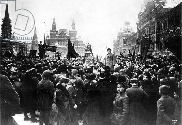 LEON TROTSKY (1879-1940) Né Lev Davidovich Bronstein. Russian Communist leader. Trotsky as Soviet Minister of War speaking to crowds during the Third International in Moscow, March 1919.