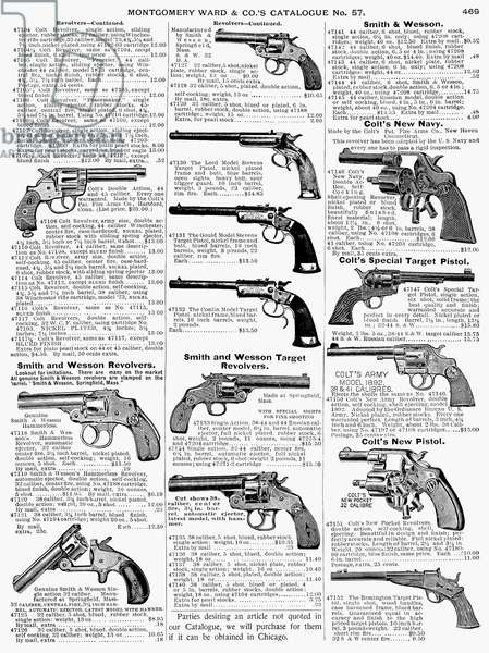 REVOLVERS AND PISTOLS, 1895 Page from a Montgomery Ward catalogue, 1895.