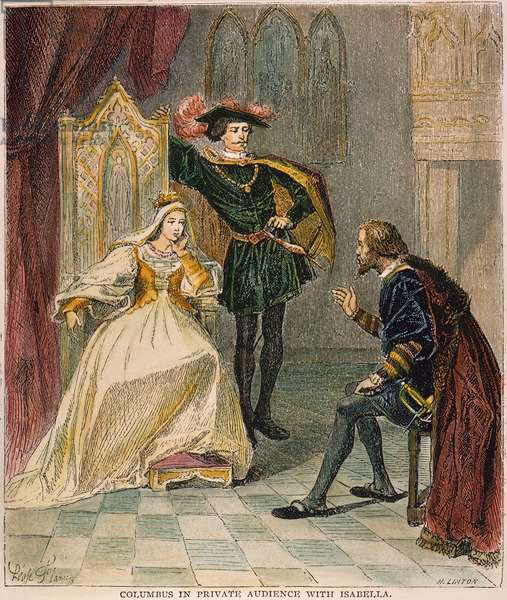 COLUMBUS & ISABELLA, 1492 Christopher Columbus in private audience with Queen Isabella and King Ferdinand of Spain. Engraving after Léopold Flameng, 1892.