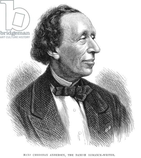 HANS CHRISTIAN ANDERSEN (1805-1875). Danish writer. Wood engraving, English, 1873.