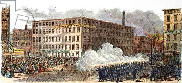NEW YORK: DRAFT RIOTS 1863 The military firing on the mob at 22nd Street and Second Avenue during the New York City Draft Riots of 13-16 July 1863. Contemporary coloured  engraving.