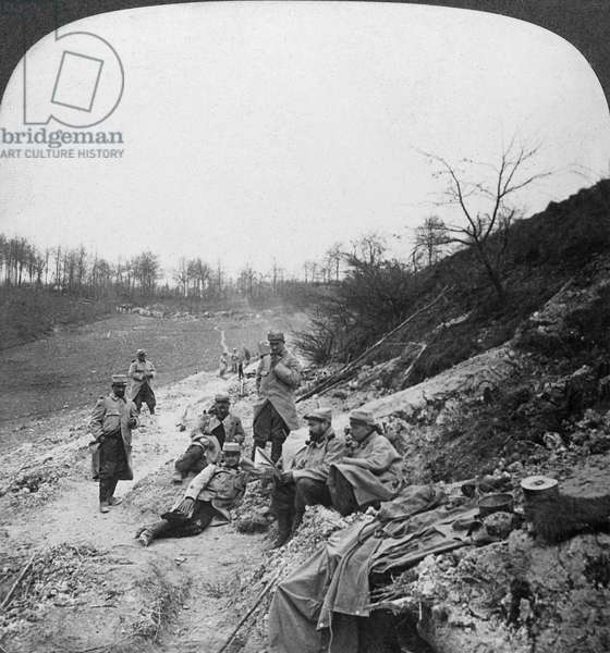 WORLD WAR I: CHAMPAGNE Sheltered communication paths in the Champagne district in France during World War I. Stereograph, 1914-1918.
