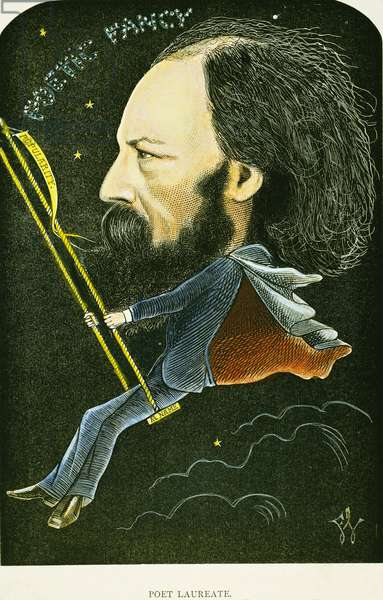 ALFRED TENNYSON (1809-1892). English poet. Caricature, 1872, by Frederick Waddy.