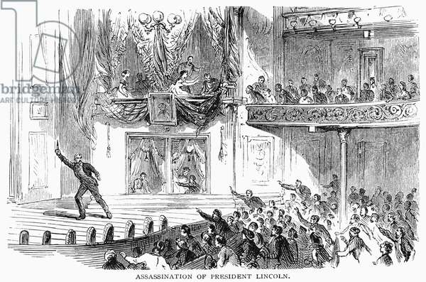 ABRAHAM LINCOLN (1809-1865). 16th President of the United States. John Wilkes Booth on the stage at Ford's theater after he had fatally shot President Lincoln, 14 April 1865. Wood engraving, 19th century.