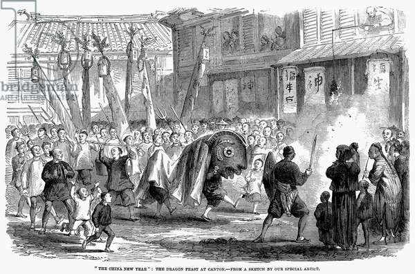 CHINESE NEW YEAR, 1861 'The China New Year: The Dragon Feast at Canton.' English wood engraving, 1861.