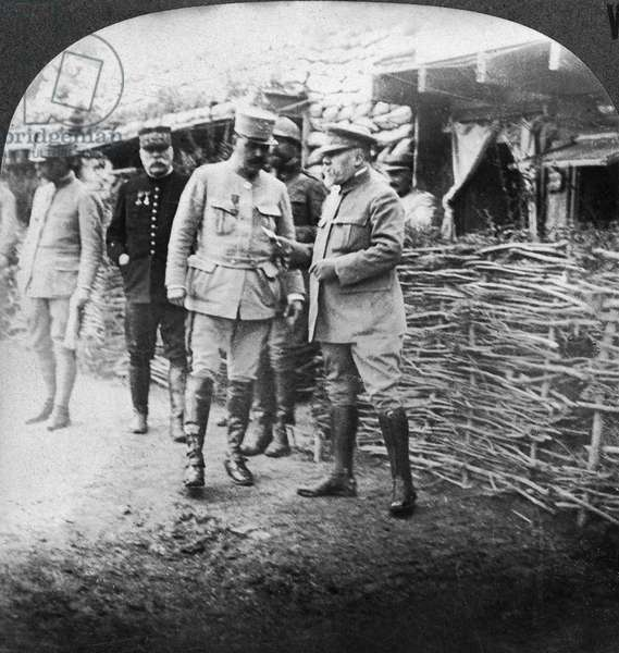 WORLD WAR I: SOMME FRONT French President Raymond Poincare and Commander-in-Chief Joseph Joffre visiting the front during the Battle of the Somme, 1916. Stereograph.