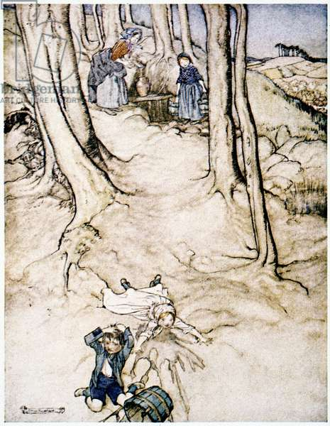 RACKHAM: JACK & JILL Illustration, 1913, by Arthur Rackham for 'Mother Goose' nursery rhymes.