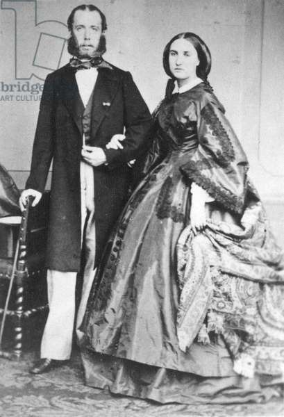 MAXIMILIAN (1832-1867) Archduke of Austria and Emperor of Mexico, 1864-67. Photographed with his wife, the Empress Carlota, c.1864.