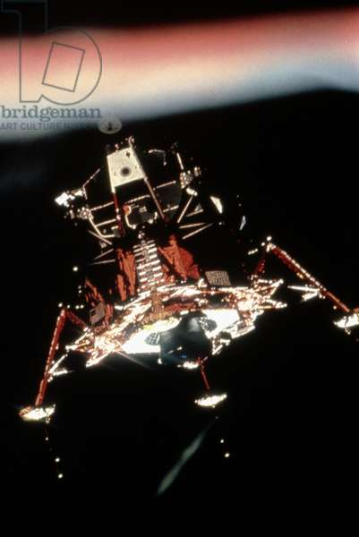 APOLLO 11: LUNAR MODULE View of the Apollo 11 Lunar Module from the Command Module, prior to landing on the moon. Photograph, 20 July 1969.