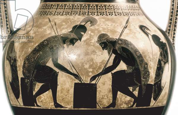 ACHILLES & AJAX, c540 B.C Achilles and Ajax playing checkers. Attic amphora, possibly by Exekias, c540 B.C.