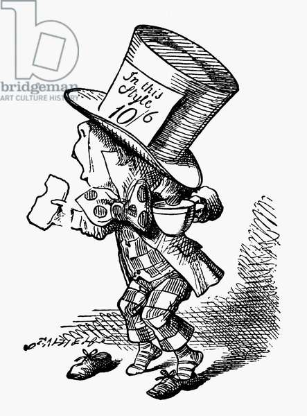 CARROLL: ALICE, 1865 The Mad Hatter, after the design by Sir John Tenniel for the first edition of Lewis Carroll's 'Alice's Adventures in Wonderland.'