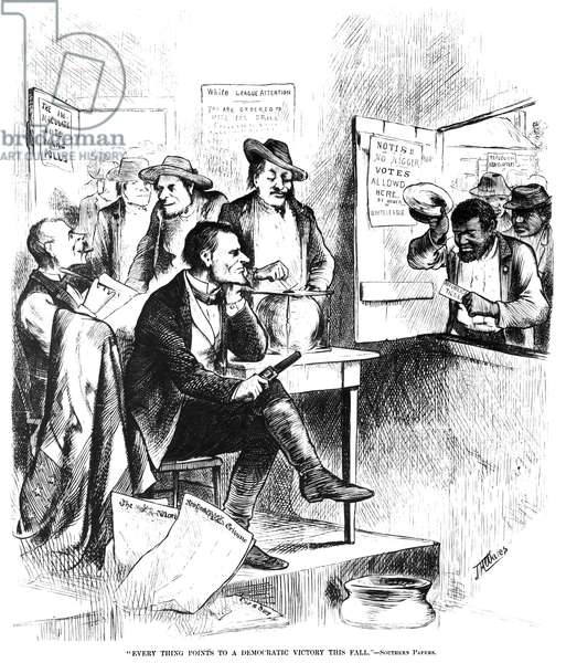 WHITE LEAGUE, 1874 A cartoon from a Northern American newspaper of 1874 on the efforts of the White League in Louisiana to intimidate and disenfranchise Black voters.