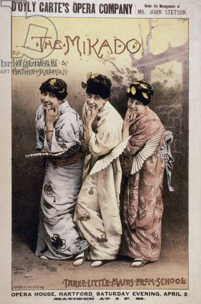 "GILBERT & SULLIVAN: MIKADO Poster for the first American production, 1885, of ""The Mikado"" by Gilbert and Sullivan."