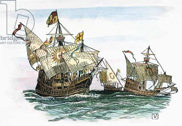 COLUMBUS: CARAVELS, 1492 Christopher Columbus' fleet, the Nina, Pinta, and Santa Maria. Engraving, 1800s.