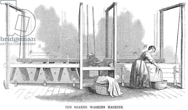 SHAKER WASHING MACHINE The Shaker washing machine. Wood engraving from an American magazine of 1860.