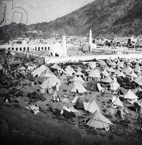MECCA: PILGRIMS, c.1910 A city of tents outside of the Ka'ba at Mecca, Saudi Arabia. Photograph, c.1910.