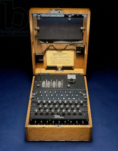 WORLD WAR II: ENCRYPTION. An Enigma cipher encryption machine, used by the German military during World War II to encode wireless messages.
