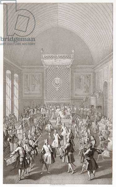 FRANCE: CORONATION, 1722 The coronation meal after the coronation of Louis XV at Reims, France. Lithograph, c.1875.