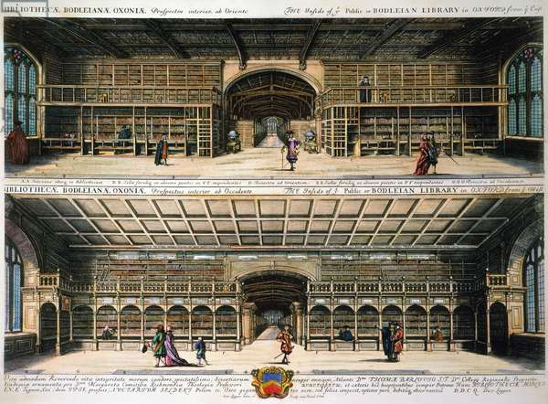 OXFORD: BODLEIAN LIBRARY Interior of the Bodleian Library at Oxford University. Color engraving, 1675, by David Loggan.