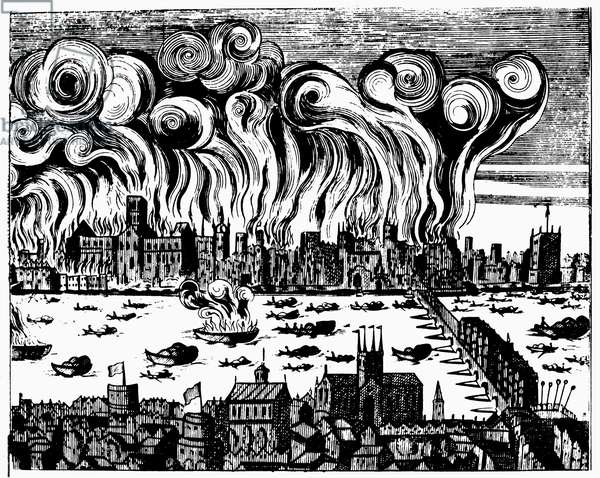 LONDON: GREAT FIRE, 1666 The Great Fire of London, which destroyed 13,200 houses and 89 churches but with a total death toll of six persons. Contemporary engraving.