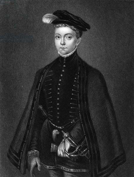 LORD DARNLEY (1545-1567) Henry Stuart. Scottish nobleman and consort of Mary, Queen of Scots. Lord Darnley as a boy. Line and stipple engraving, English, 1830.
