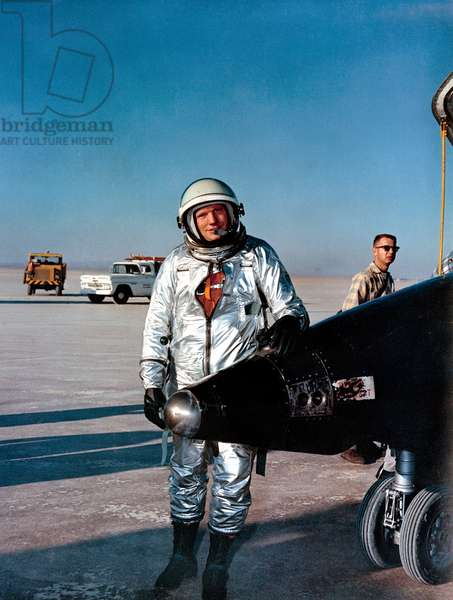 NEIL ARMSTRONG (1930-2012) American astronaut. Photographed with a North American X-15 aircraft after a test flight, 1963.