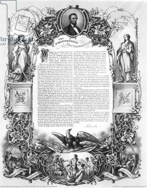 EMANCIPATION PROCLAMATION Lithograph, by L. Haugg, published in the Philadelphia Free Press, 1860s.