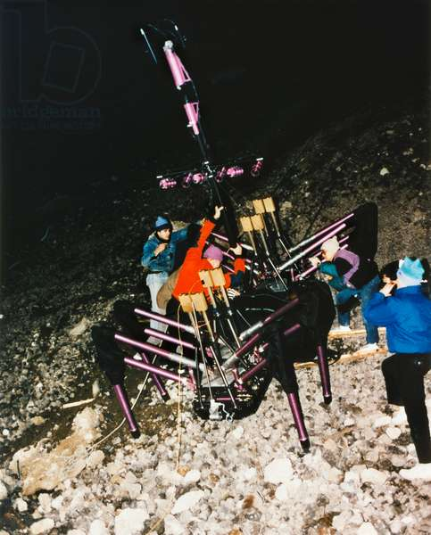 ROBOT: DANTE, 1993 Scientists of Carnegie Mellon University test their robot Dante, designed for a NASA competition and meant to climb slopes and collect gases from volcanos. Photograph, 1993.
