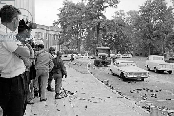 OLE MISS RIOT, 1962 The University of Mississippi campus in Oxford, Mississippi, after the riots caused by segregationists protesting the enrollment of James Meredith, the first black student. Photograph by Marion Trikosko, October 1962.