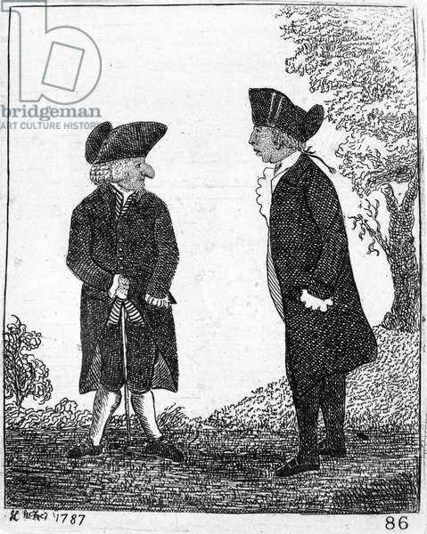 SMELLIE & BELL William Smellie (1740?-1795), Scottish printer and antiquary, and Andrew Bell (1726-1809), Scottish engraver and publisher, Smellie's partner in the 'Encyclopaedia Britannica' project. Etching by John Kay, 1787.